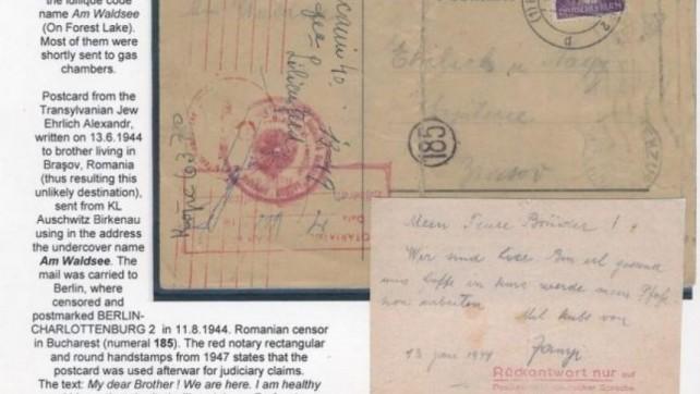 Carte postala (document unic) trimisa din lagarul Auschwitz de un banatean